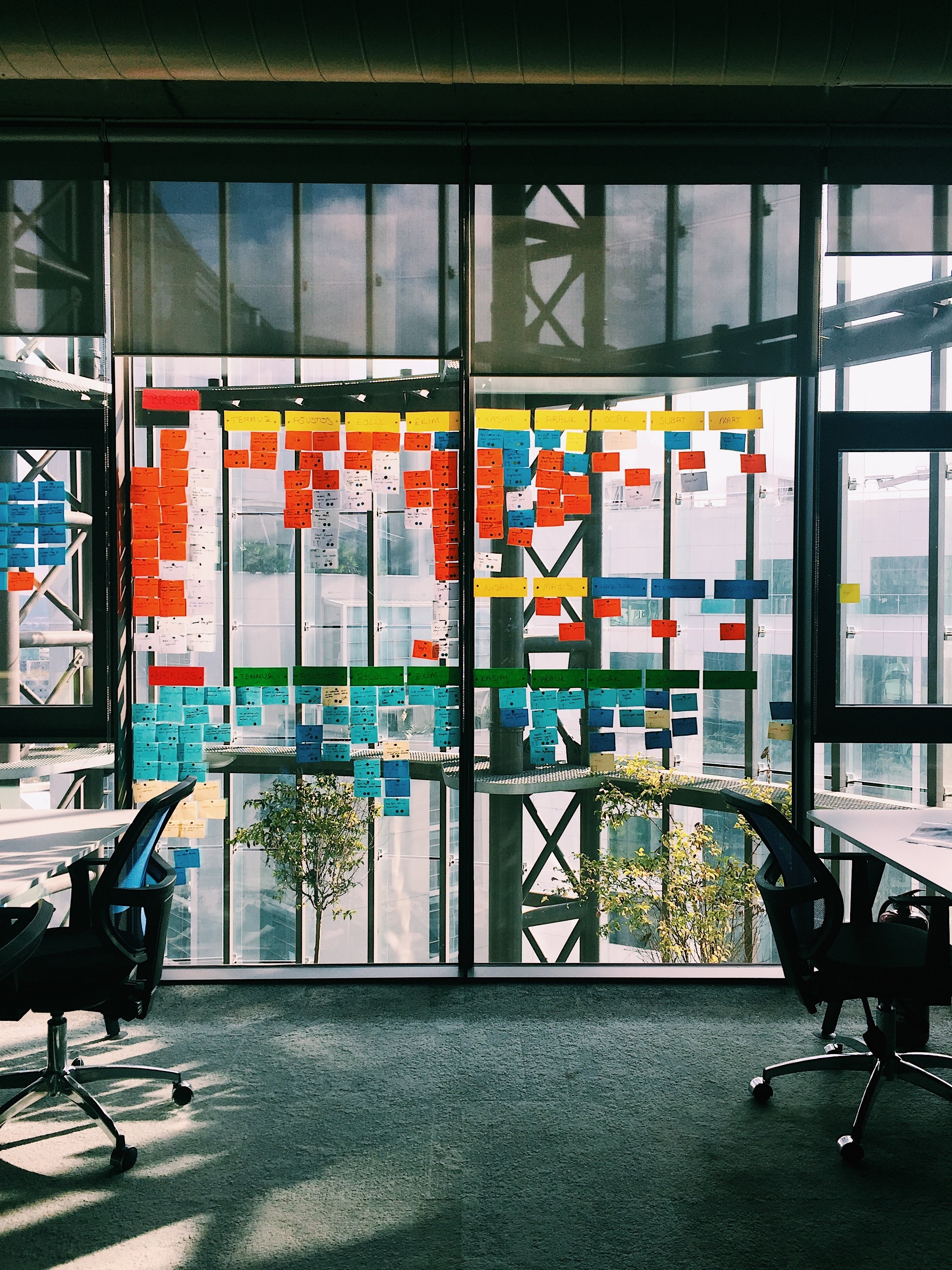 glass walls with colourful scrum post its all over them