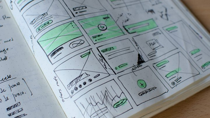 sketchbook with design panels with varied content