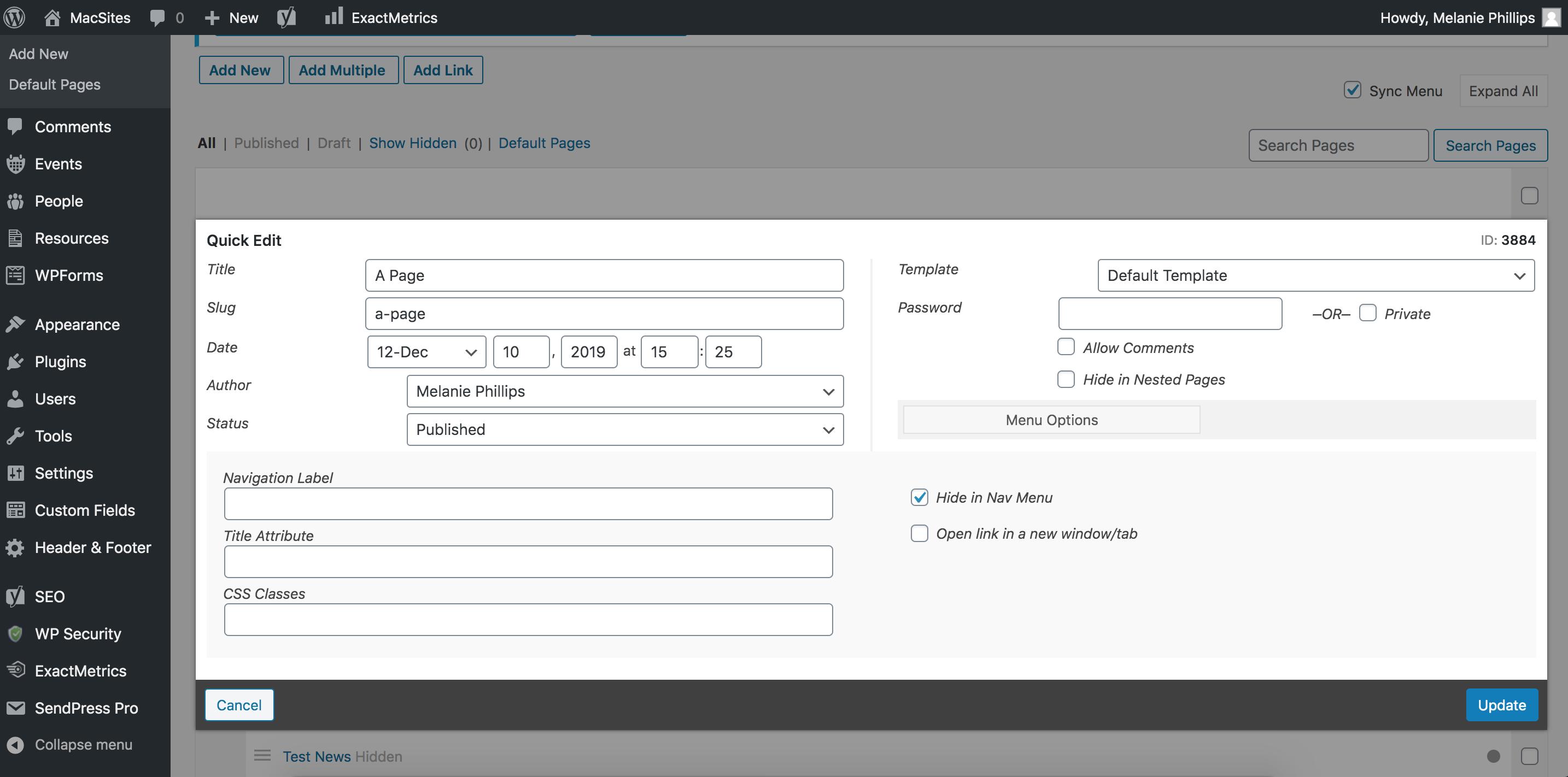 screenshot showing the Quick Edit window opened