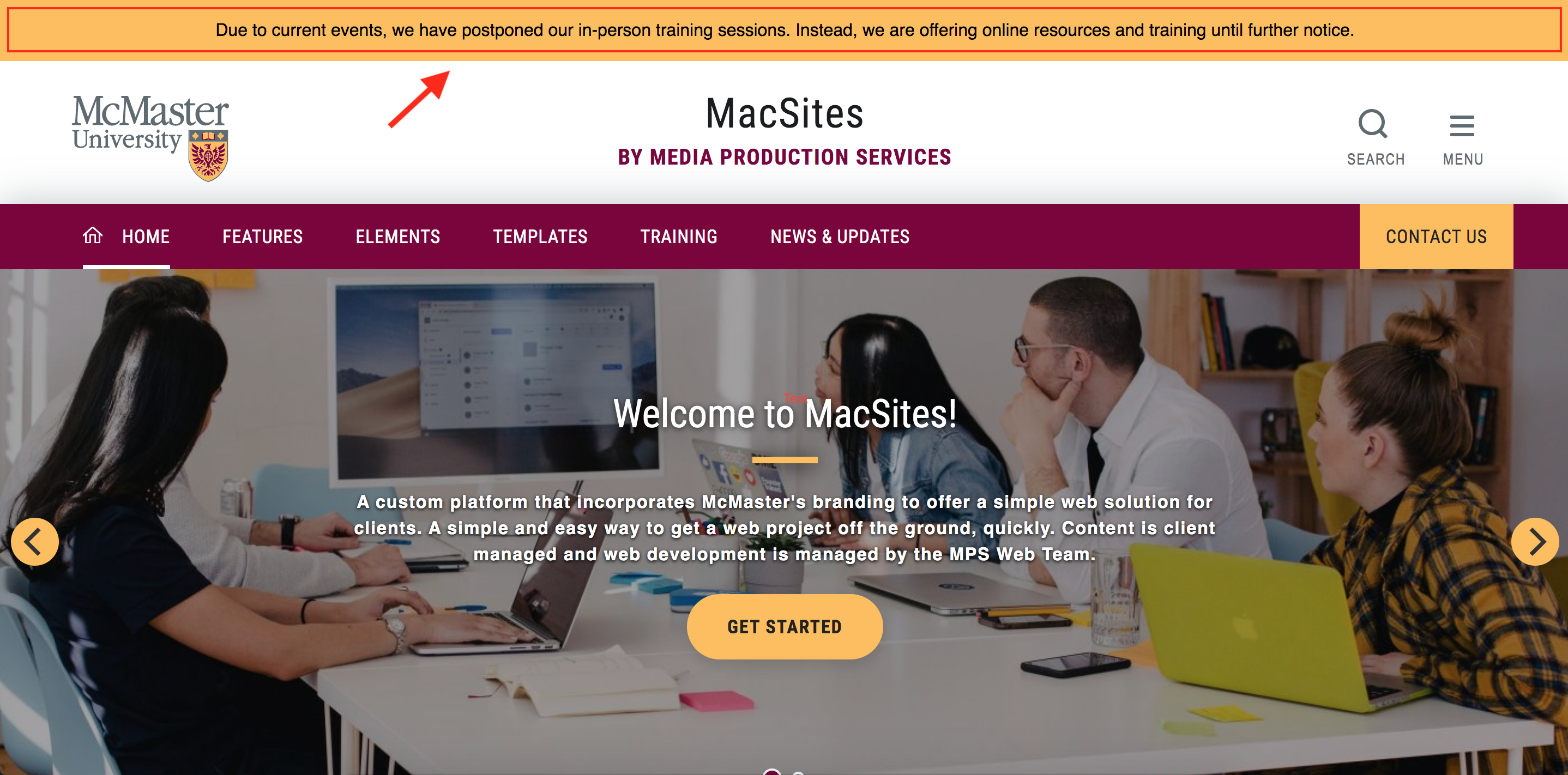 screenshot of MacSites homepage highlighting a yellow banner across the top of the page